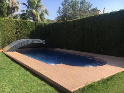 Cubierta Teide: Piscinas cubiertas con cerramiento bajo y telescópico en Sevilla abierta
